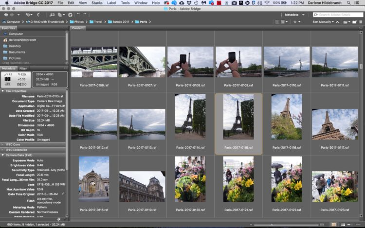an example screenshot showing Adobe Bridge photo metadata