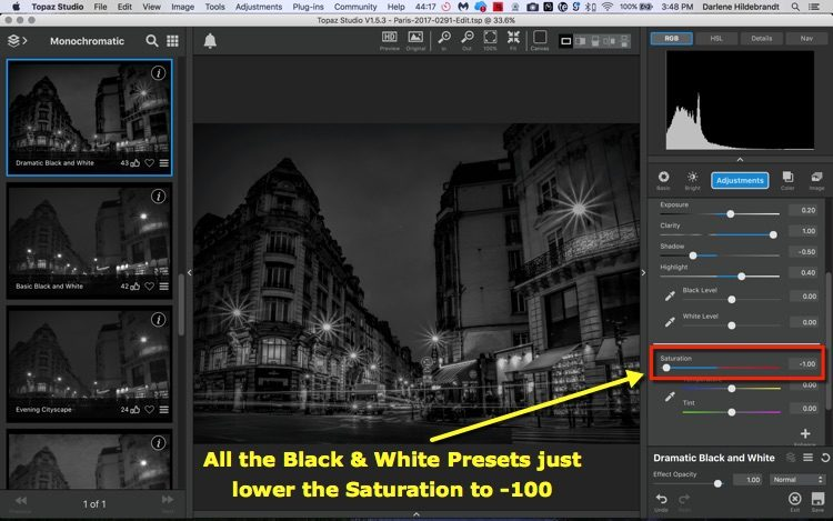 screenshot showing how Topaz processes a photo into black and white