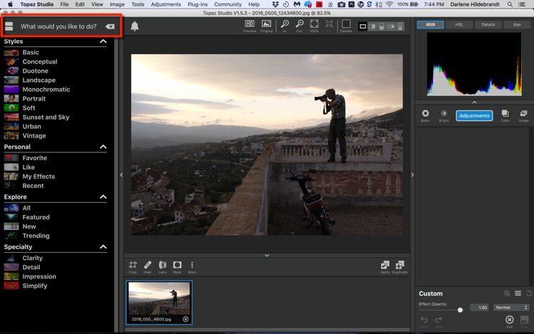 screenshot of Topaz Studio photo editing tool interface