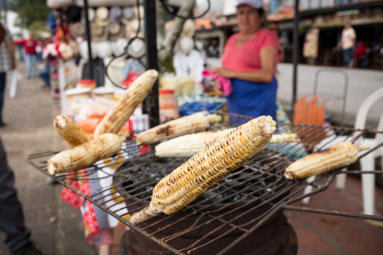 corn roasting on the grill in Comuna 13