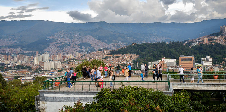 view of the city of Medellin Colombia from Pueblito Paisa with tourists