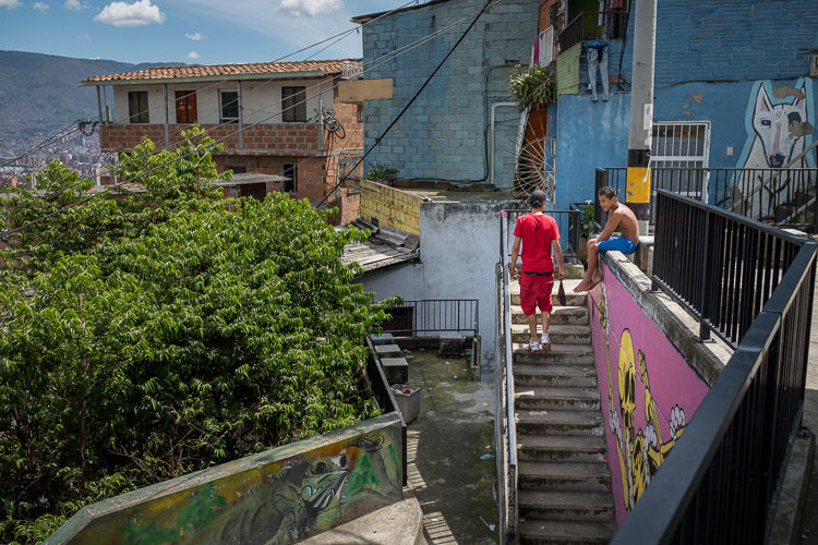a photo showing part of the stair system residents use in Comuna 13  Medellín Colombia