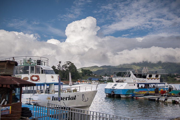 Guatapé harbor with boats