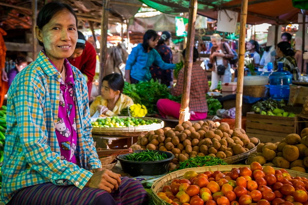Woman selling vegetables in the Nyaung U market close to Bagan in Myanmar