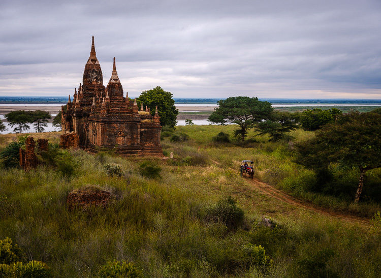 a temple over the plains of Bagan Myanmar