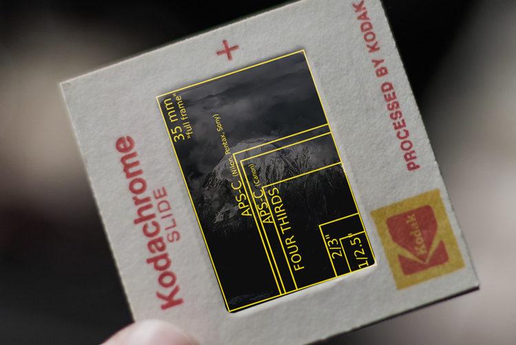 crop sensor size diagram overlaid on a 35mm slide for comparison