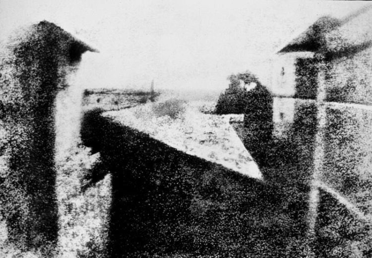 the first photograph ever taken by Joseph Nicephore Niepce, inventing heliography