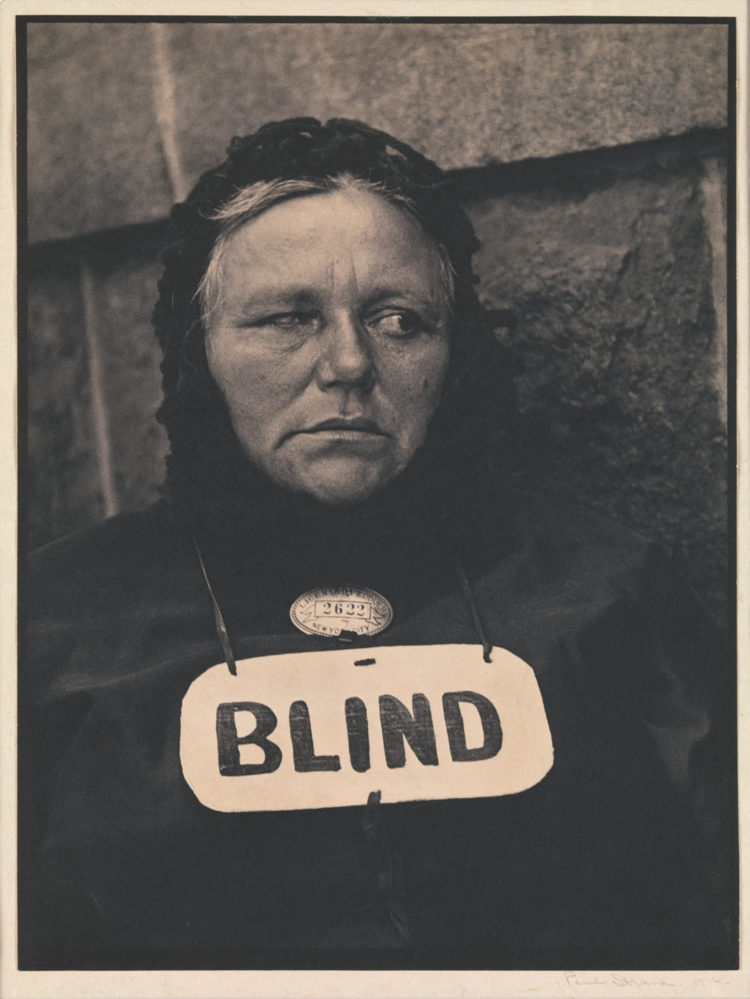 Paul Strand's famous photo Blind Beggar Woman taken 1916