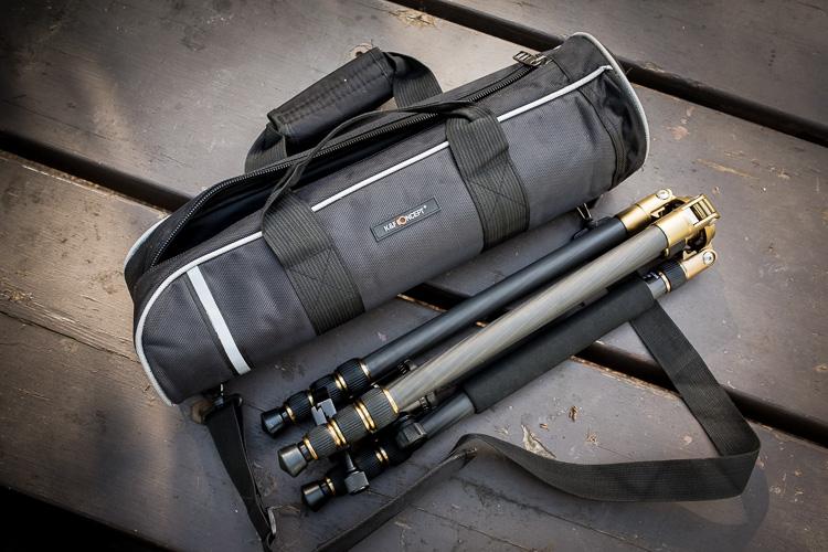 Tripod Review - the K&F Concept TC2534 Carbon Fiber Tripod - tripod and carry bag