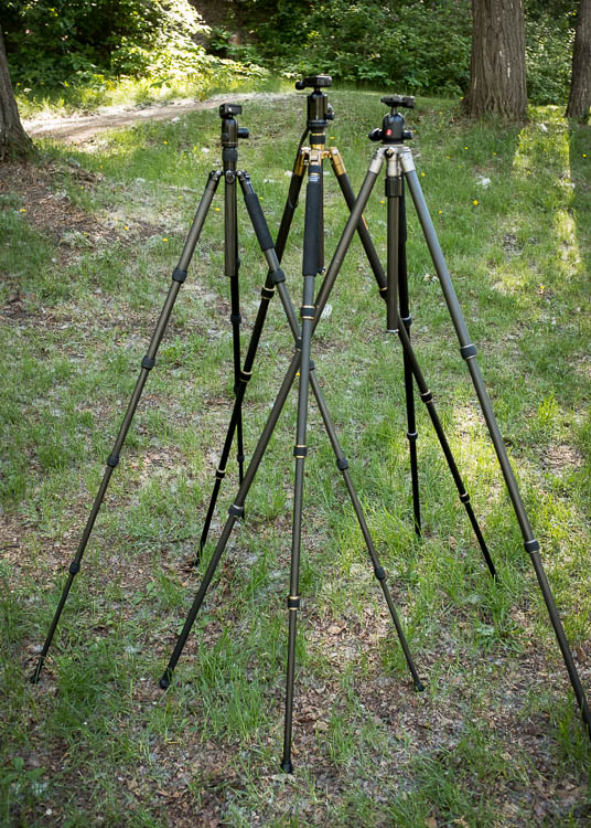 Tripod Review - the K&F Concept TC2534 Carbon Fiber Tripod- 3 tripods extended to full height