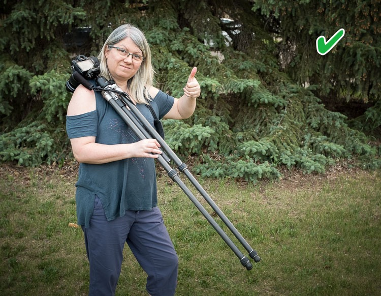 how to carry your camera tripod correctly.