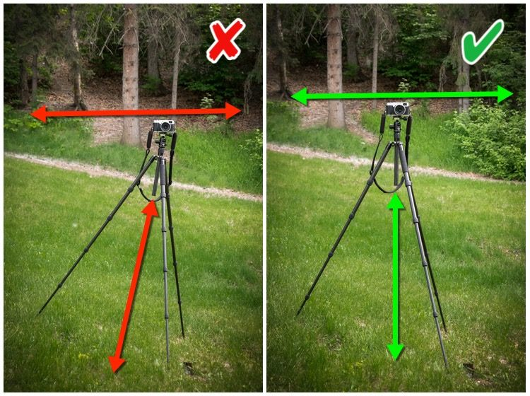 tripod mistakes - setting up wrong on a hill