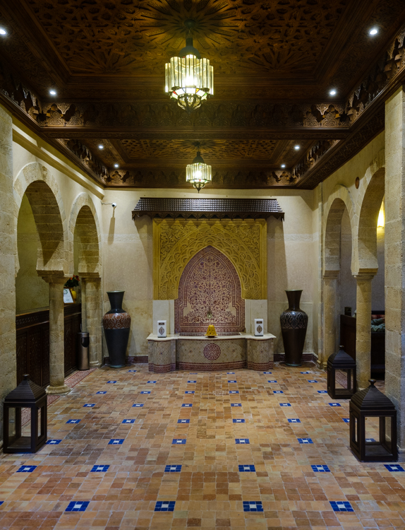 inside the lobby of riad mimouna in essaouira morocco