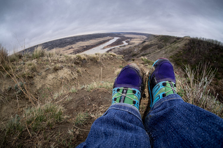 self-portrait Darlene feet overlooking a valley