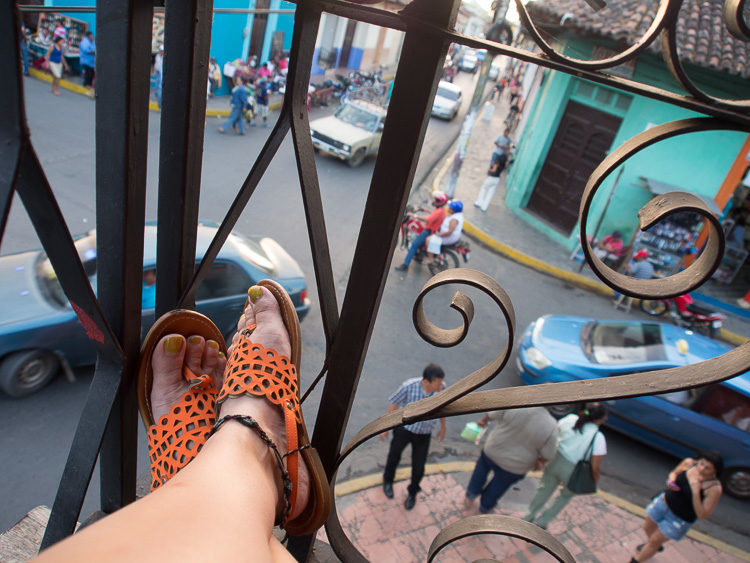 self-portrait Darlene feet on a balcony
