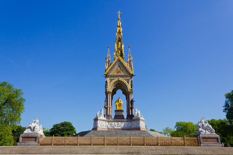 Albert monument in Hyde Park showing photography taken with sun behind the photographer