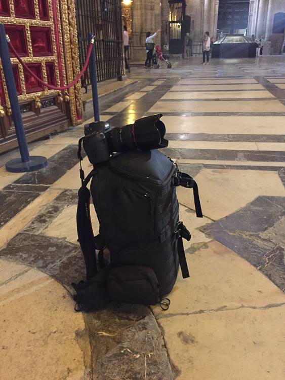 using your travel bag or backpack as a makeshift tripod when tripods are not allowed