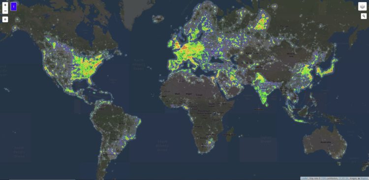 map showing light pollution and darks sites on the earth