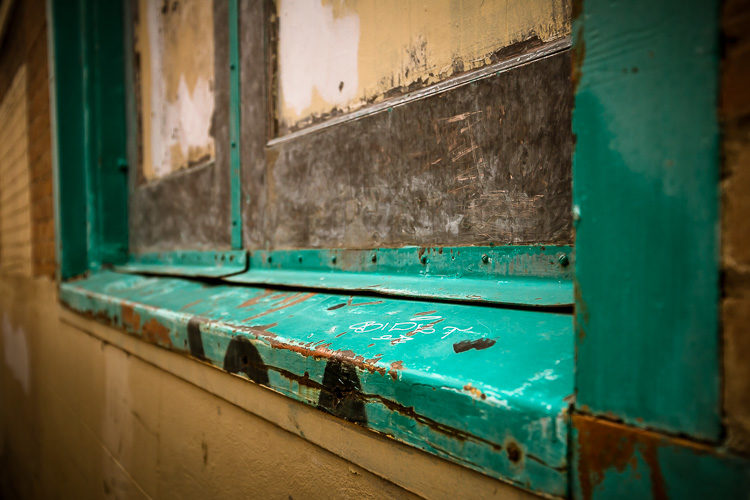 window sill with graffiti - photography challenge