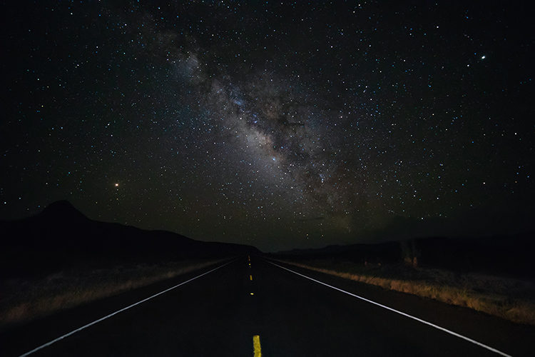 using a highway or road as foreground to the milky way