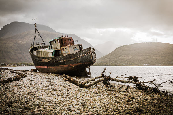 Old Boat of Corpach with Ben Nevis in the background, Fort William, Scotland