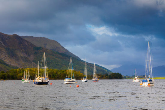 boats on Loch Leven Glencoe Scotland