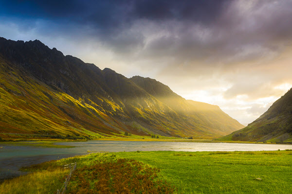 Sunset through the valley at Glencoe Scotland