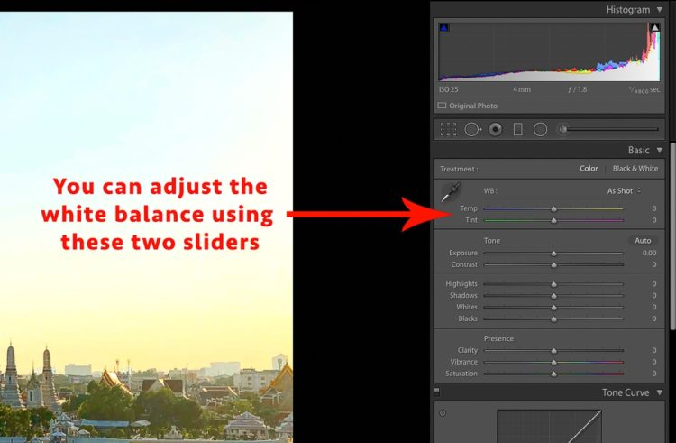 lightroom white balance slider screenshot