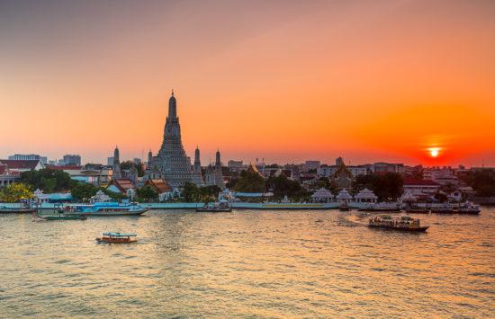 Bangkok at night - sun sets over the city