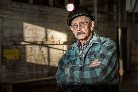 coal miner as photo model