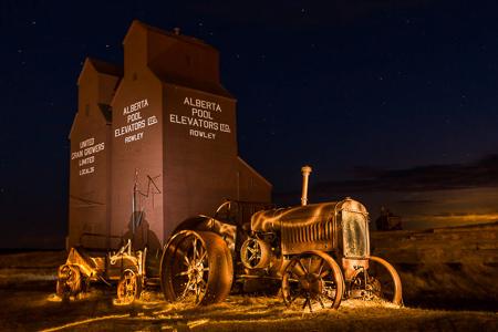 Alberta ghost town Rowley at night