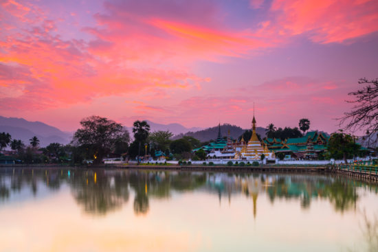 thai temple at sunrise