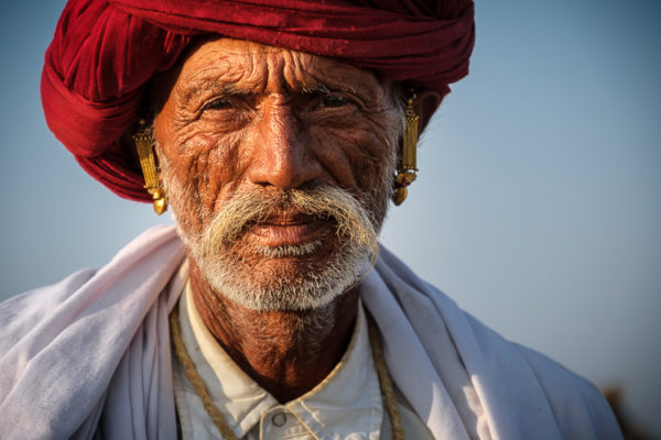 Indian man with turban in Pushkar
