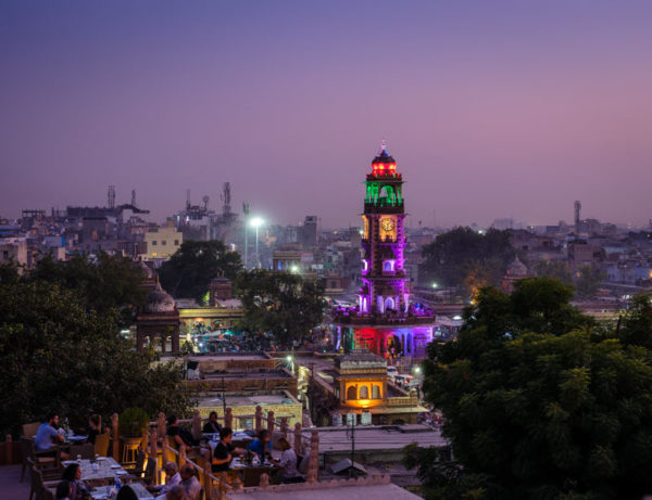 colorful building lit at night in Jodhpur India