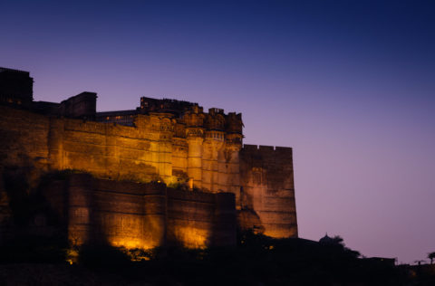Mehrangarh fort lit at night in Jodhpur India