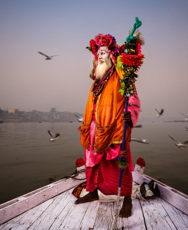 Indian Sadhu portrait on a boat in Varanasi
