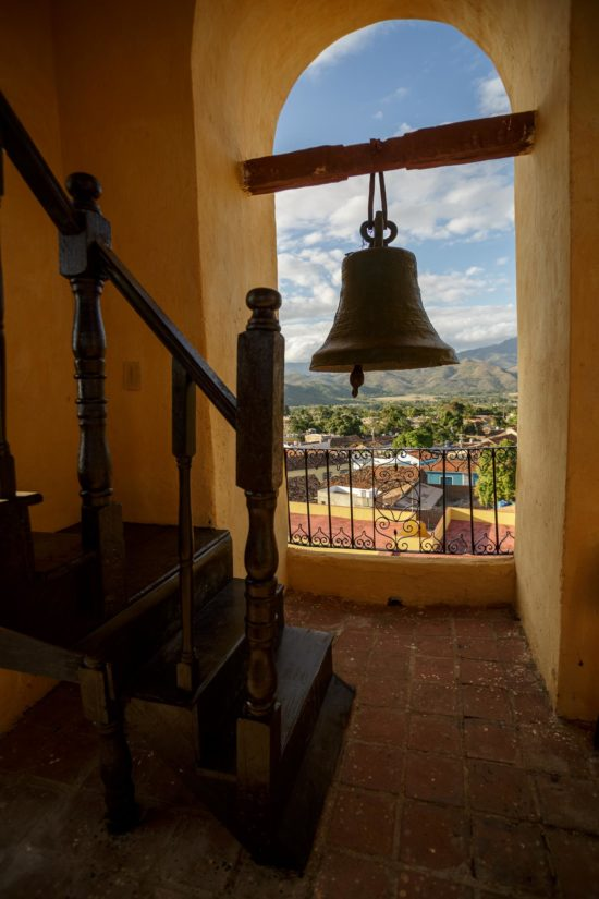 the view from above Trinidad Cuba from the behind the bell in the bell tower