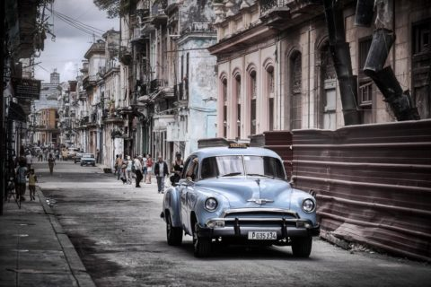 cuban taxi on the street in old havana