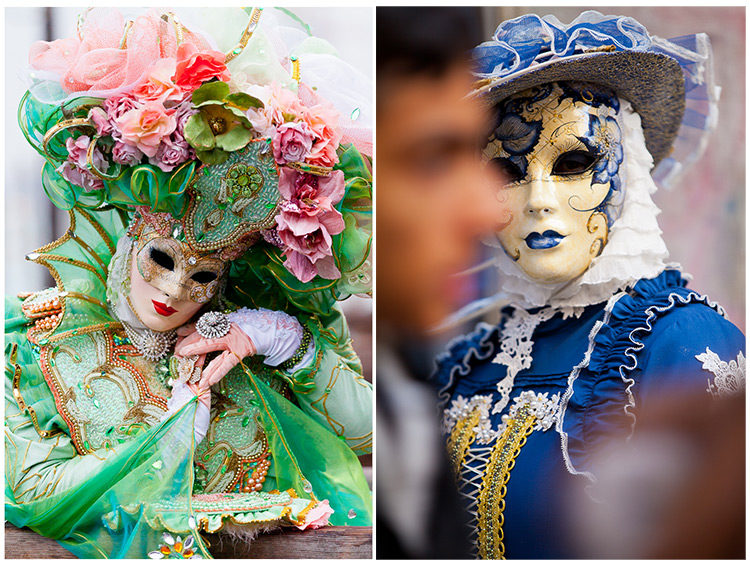 Beautiful green outfit worn by a woman in a mask at Venice Carnival along side a photo of a man in blue