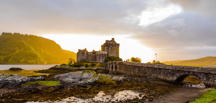 Sunset over Eilean Donan Castle, Kyle of Lachalsh, Scotland makes for great landscape photography destination