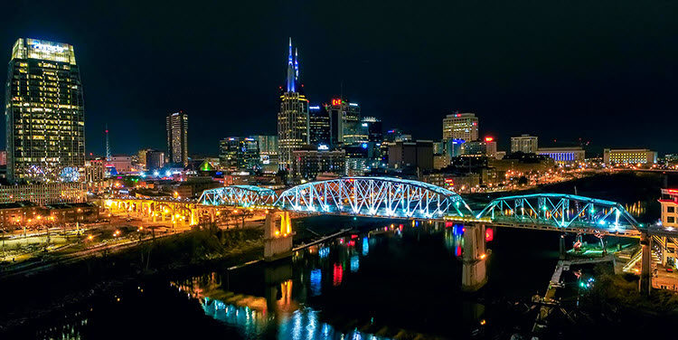 a night photo of Nashville Tennessee with camera settings Shutter Speed: .5 seconds; Aperture: f/5.6; ISO 310.