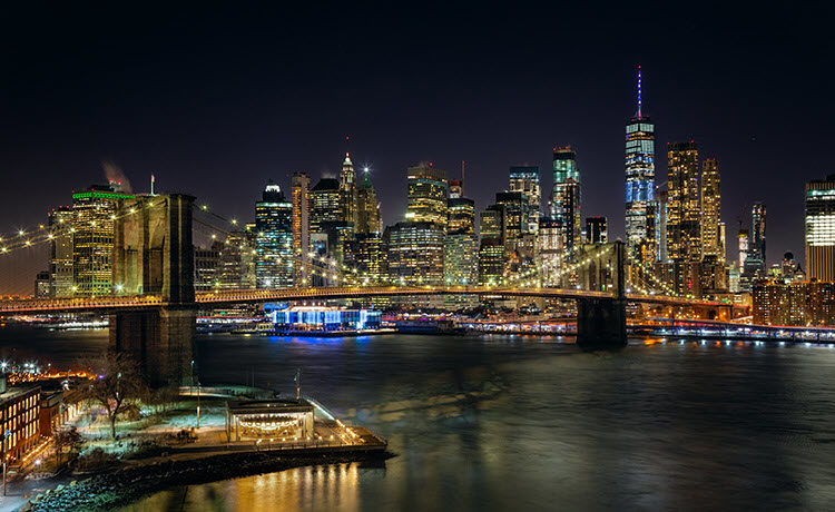 New York, New York, from the Manhattan Bridge. Shutter Speed: 2 seconds; Aperture: f/8; ISO 400.