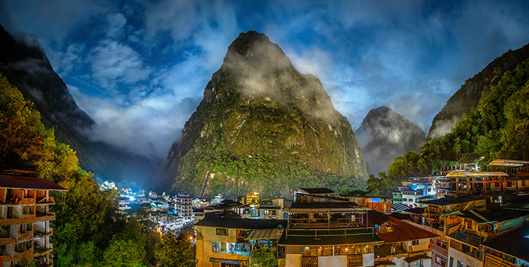 a photo of Aguas Calientes, Peru at night with camera settings Shutter Speed: 20 seconds; Aperture: f/5.6; ISO 400.