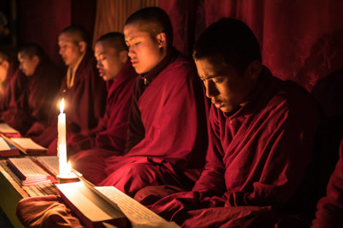 Monks dressed in traditional robes in a temple for a private photo shoot for tour guests