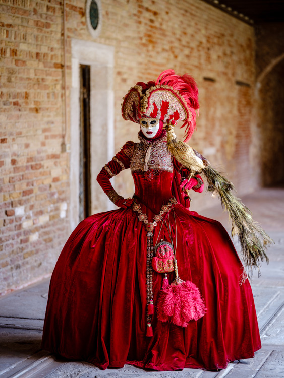 Fujifilm GFX 50S photo from Venice Carnival, Italy lady in red dress and mask