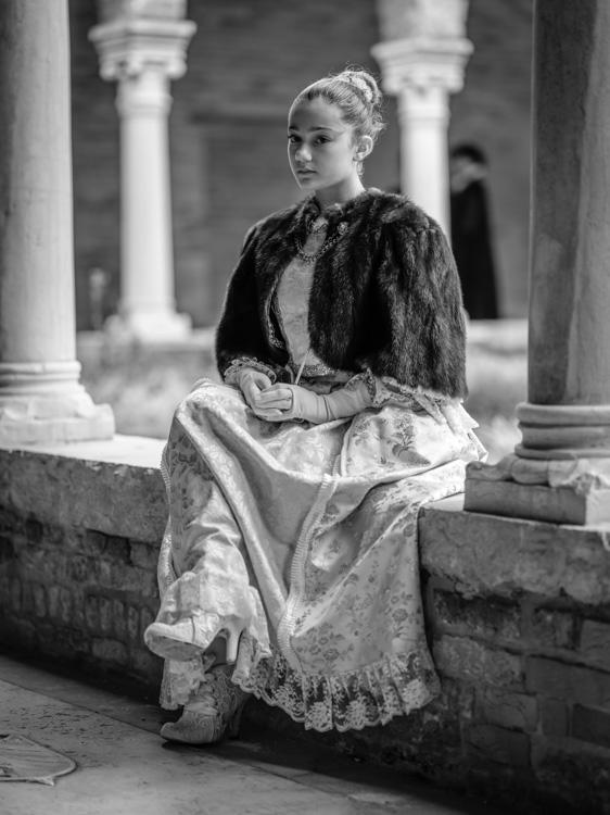 Fujifilm GFX 50S black and white photo of female model Venice Italy