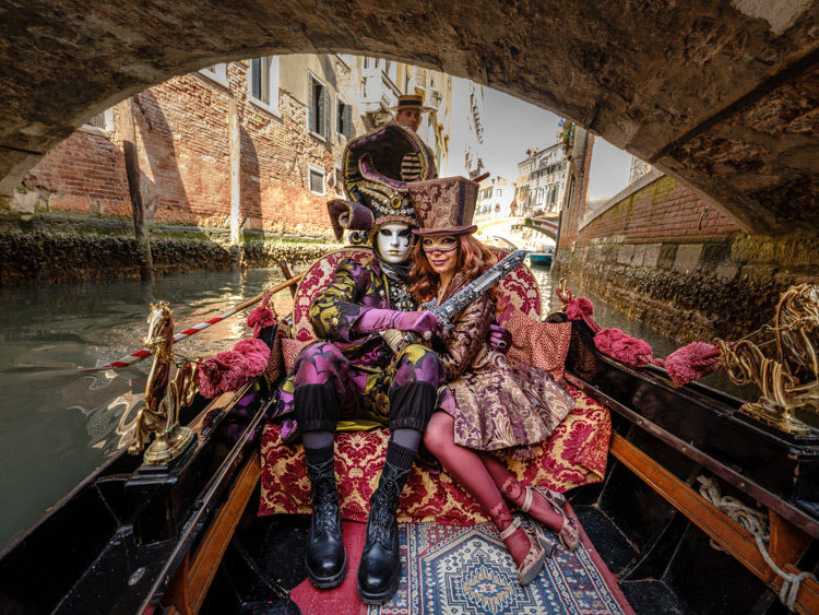 Fuji GFX 50S costumed models on gondola Venice Italy