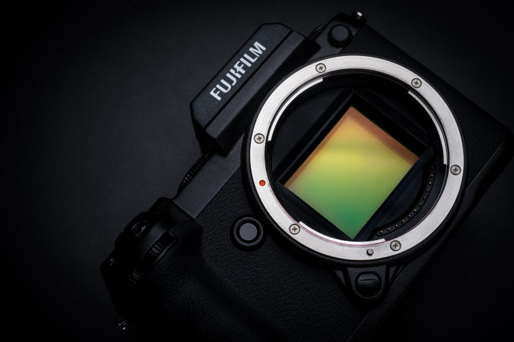 fujifilm gfx 50s camera body without the lens showing the sensor