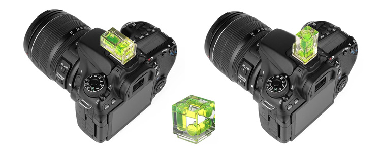 photography accessory bubble level mounted on the camera hotshoe, shown vertically and horizontally positions