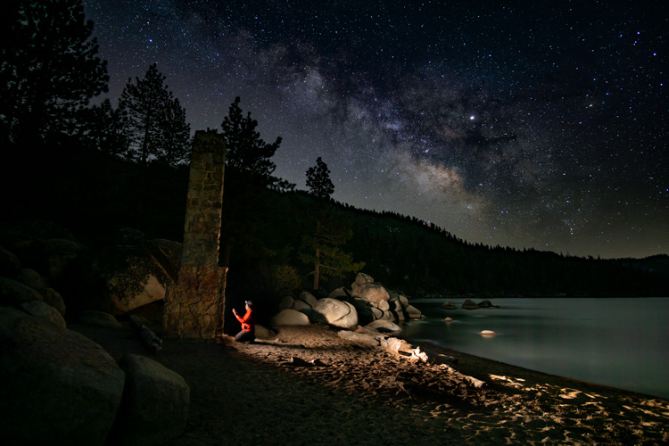 Chimney Beach, Lake Tahoe | Sitting by the fire under the stars